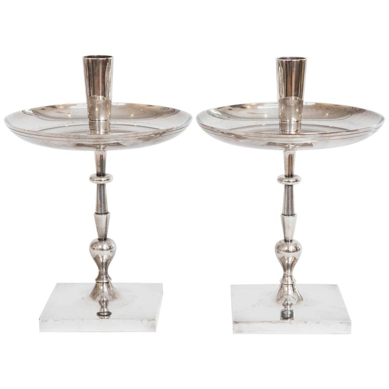 Pair of Tommi Parzinger Silver Plate Candelsticks For Sale