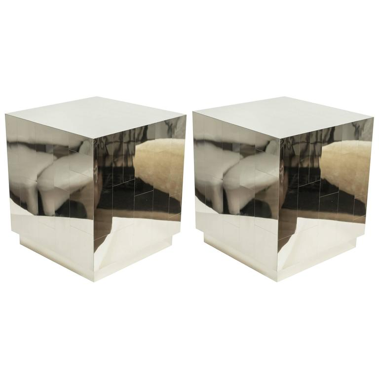 Contemporary Metal Cubes in the Manner of Paul Evans 1