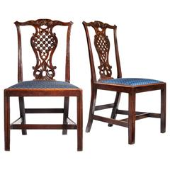 Thomas Chippendale 18th Century Mahogany Side Chairs with Blue Cushions