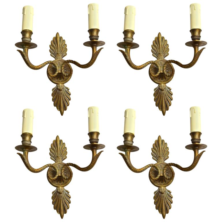 19th Century Bronze Small Wall Sconces For Sale at 1stdibs