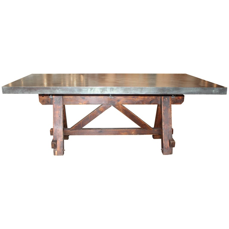 Vintage French Tradesman's Sawhorse as Dining Table with Patinated Zinc Top