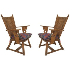 Pair of American Rustic Old Hickory Mission Armchairs