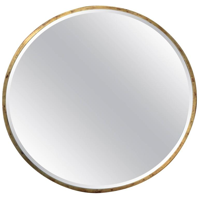 Customizable Round Gold Leaf Iron Frame Mirror in stock