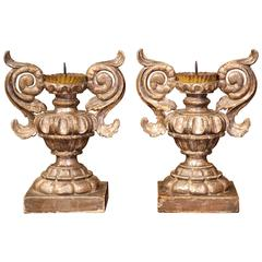 Pair of 19th Century Italian Baroque-Style Carved Silverleaf Candle Prickets