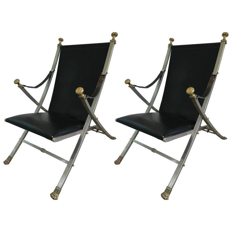 Pair of Maison Jansen Campaign Style Armchairs