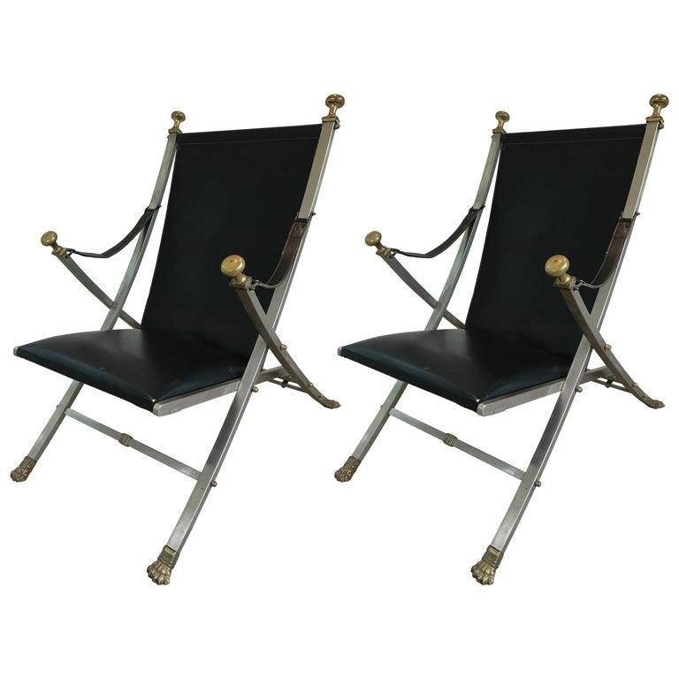 Pair of Maison Jansen Campaign Armchairs For Sale