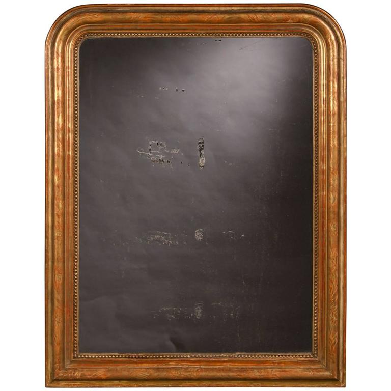 Antique French Louis Philippe Gold Leaf Mirror, circa 1890