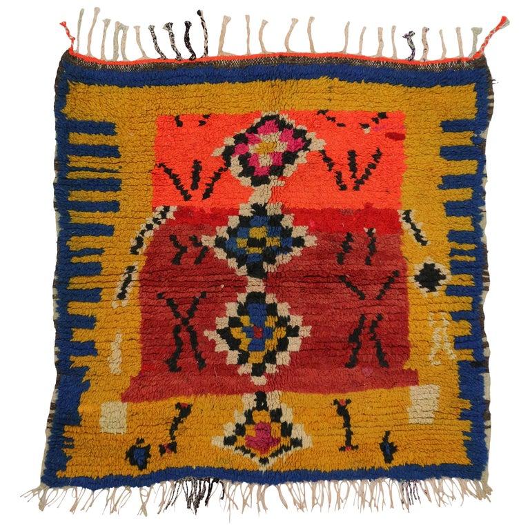 Vintage Berber Moroccan Rug with Tribal Design 1