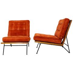 Mid-Century Modern Pair of Lounge Slipper Chairs Wood and Wrought Iron Saarinen