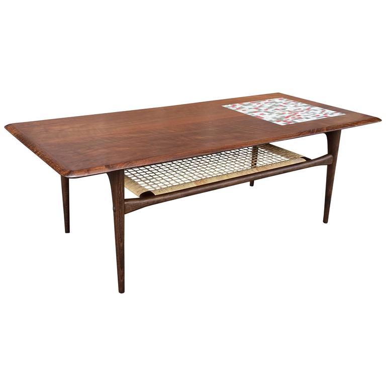 Danish Modern Walnut And Tile Mosaic Coffee Table 1