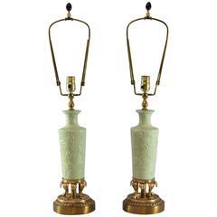 Pair of Celadon Porcelain Brass Table Lamps