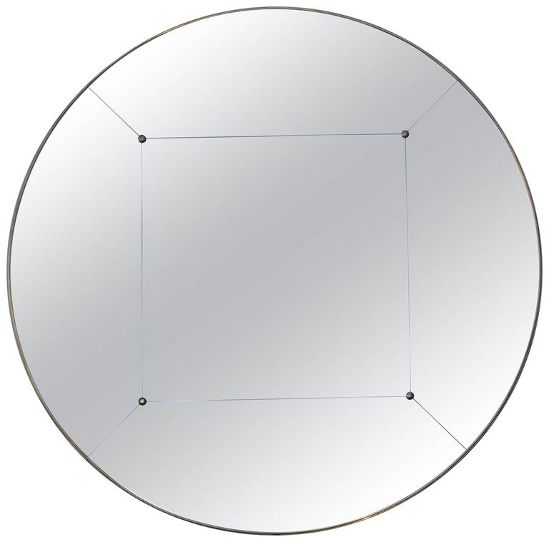 Huge Customizable Art Deco style Brass Frame Studded Panelled Mirror in stock