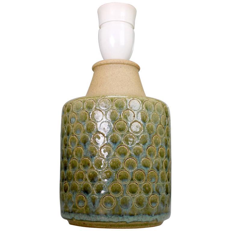 Danish Soholm Handmade Stoneware Olive Green Lamp, 1960s