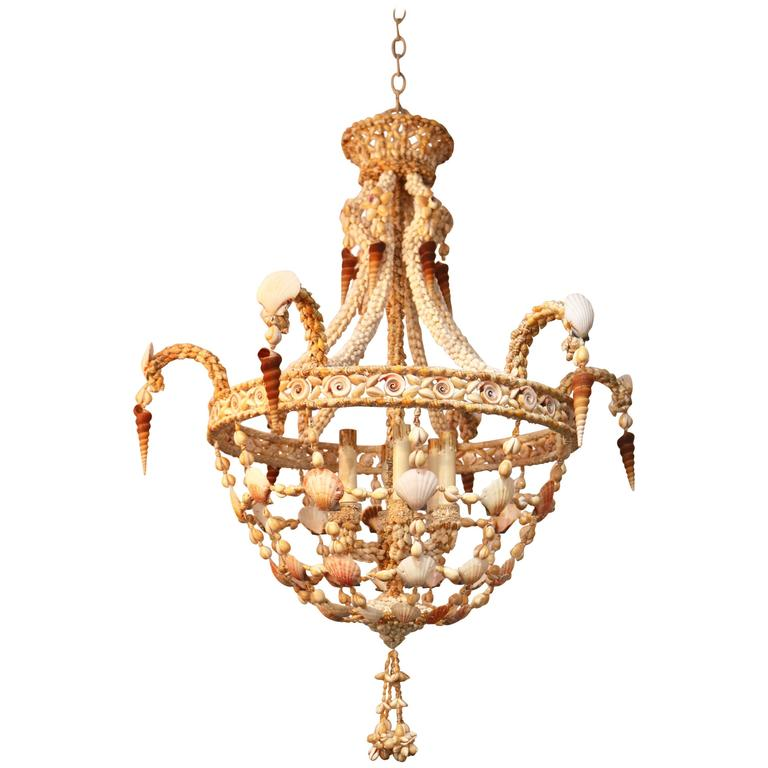 Hollywood Regency, Tony Duquette Style Seashell Encrusted Chandelier