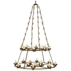 Antique French Wrought-Iron Chandelier from a Chateau