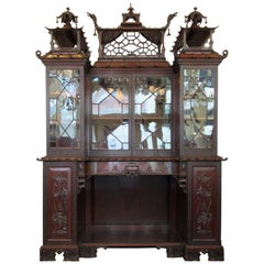 Monumental 19th Century English Chinese Chippendale Mahogany China Bookcase