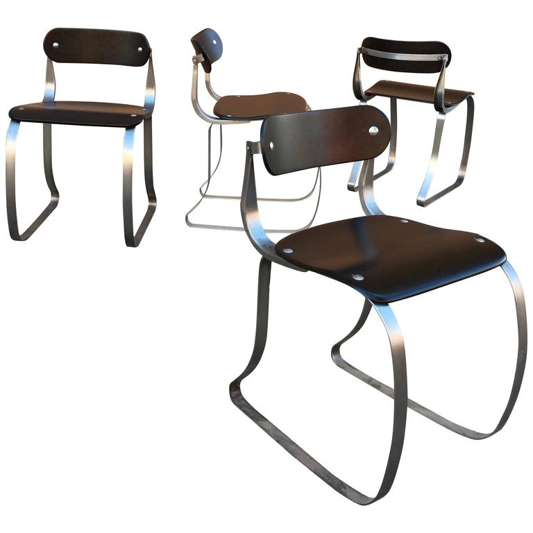 Brushed Steel and Ebonized Maple Health Chairs by Herman Sperlich for Ironrite