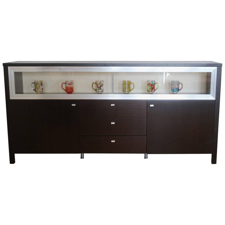 Art deco glass display cabinet buffet for sale at 1stdibs for Sideboard glasfront