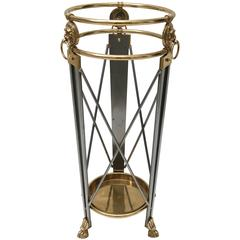 Maison Jansen, Neoclassical Style Umbrella Stand, Stainless Steel, Brass, Italy