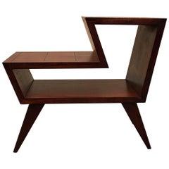 Angular Mid-Century Modern Stepped Mahogany Side Table