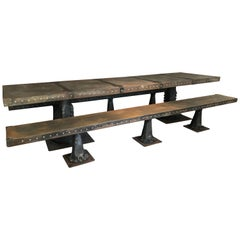 Industrial Steel Banquet Table and Pair Benches