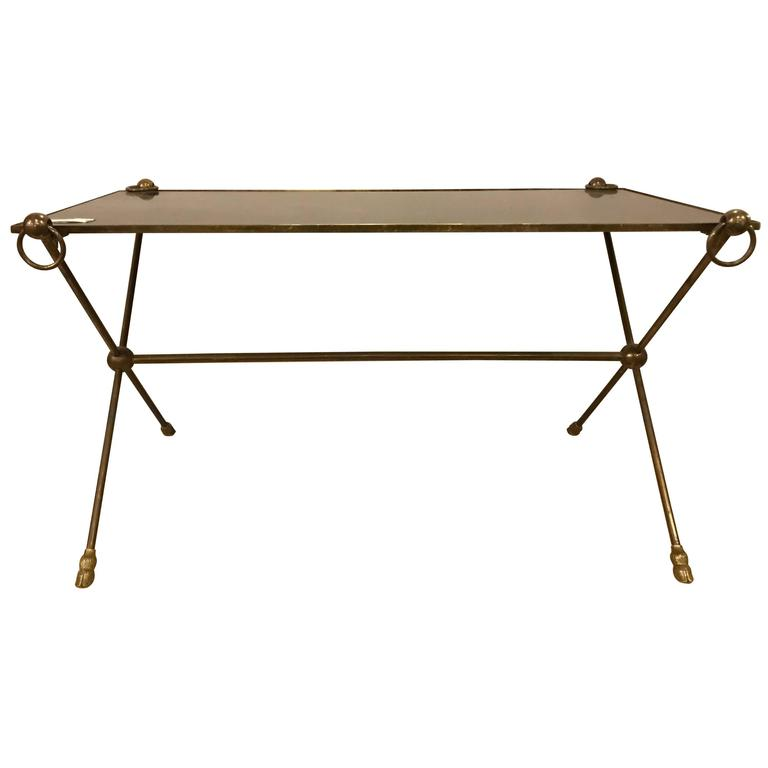 Hollywood Regency Neoclassical Bronze Ebonized Glass Top Coffee Or Low Table At 1stdibs