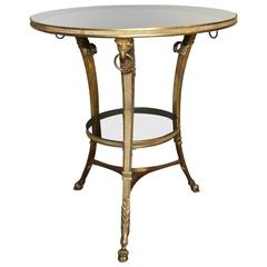 French Gilt Bronze Glass Neoclassical Eagle Gueridon Side Table