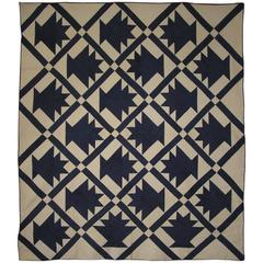 Blue and White Patchwork Basket Quilt