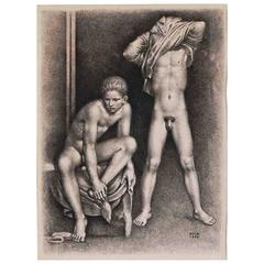 """Undressing,"" Large, Rare Drawing of Nude Male Youths by Goor, 1952"