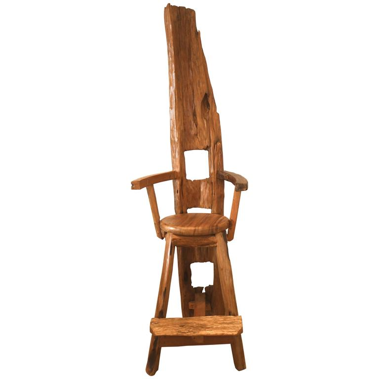 "77"" High Artisan Wood Throne Arm Chair-one of a Kind Art Sculpture"