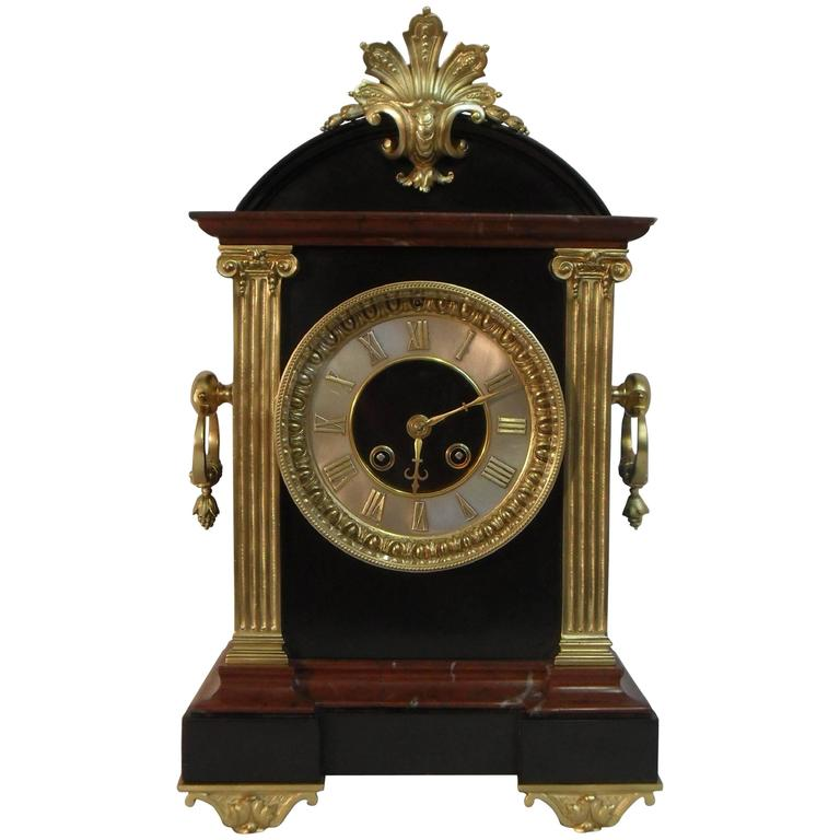 French Belle Epoque Black Slate and Marble Mantel Clock