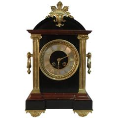 French 19th Century Black Slate and Marble Mantel Clock