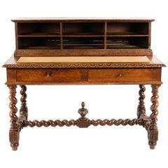 Antique French Carved Oak Desk, circa 1880
