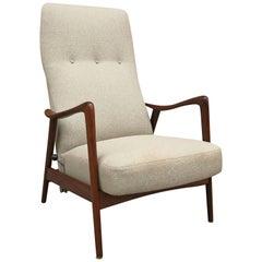 Scandinavian Modern Walnut Recliner Lounge Chair, Westnofa, Norway