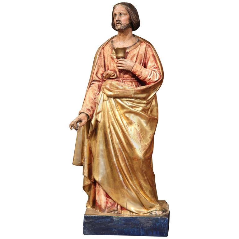 Early 19th Century French Carved Giltwood and Polychrome Statue of Jesus Christ