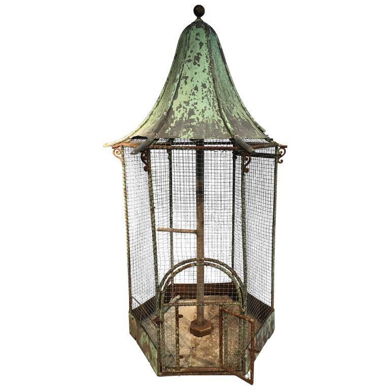 German Painted Zinc and Iron Hexagonal Birdcage