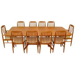Late 20th Century Teak Dining Table with Ten Benny Linden Chairs