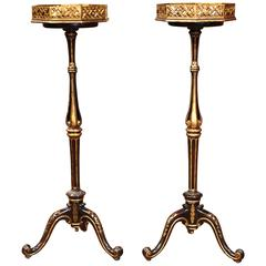 Pair of Tall Mid-20th Century French Painted with Gilt Pedestal Plant Stands