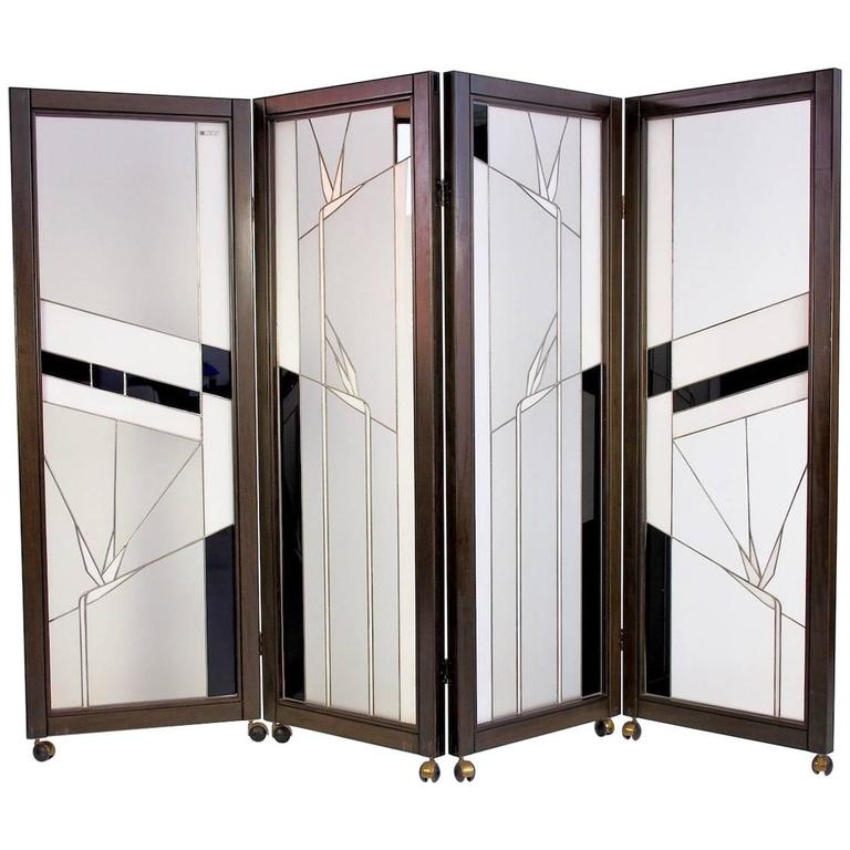 Art Deco Style Wood And Leaded Glass Screen By Poliarte Birds Of