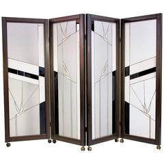 Art Deco Style Wood and Leaded Glass Screen by Poliarte - Birds of Paradise