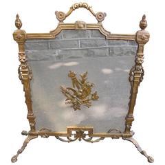 Ornate Antique Brass Fire Screen Guard