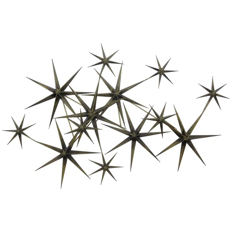 C. Jere Star Wall Sculpture in Burnished Brass 1