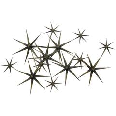 C. Jere Star Wall Sculpture in Burnished Brass