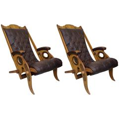 Pair of Deckchairs in Mahogany by Jean-Pierre Hagnauer