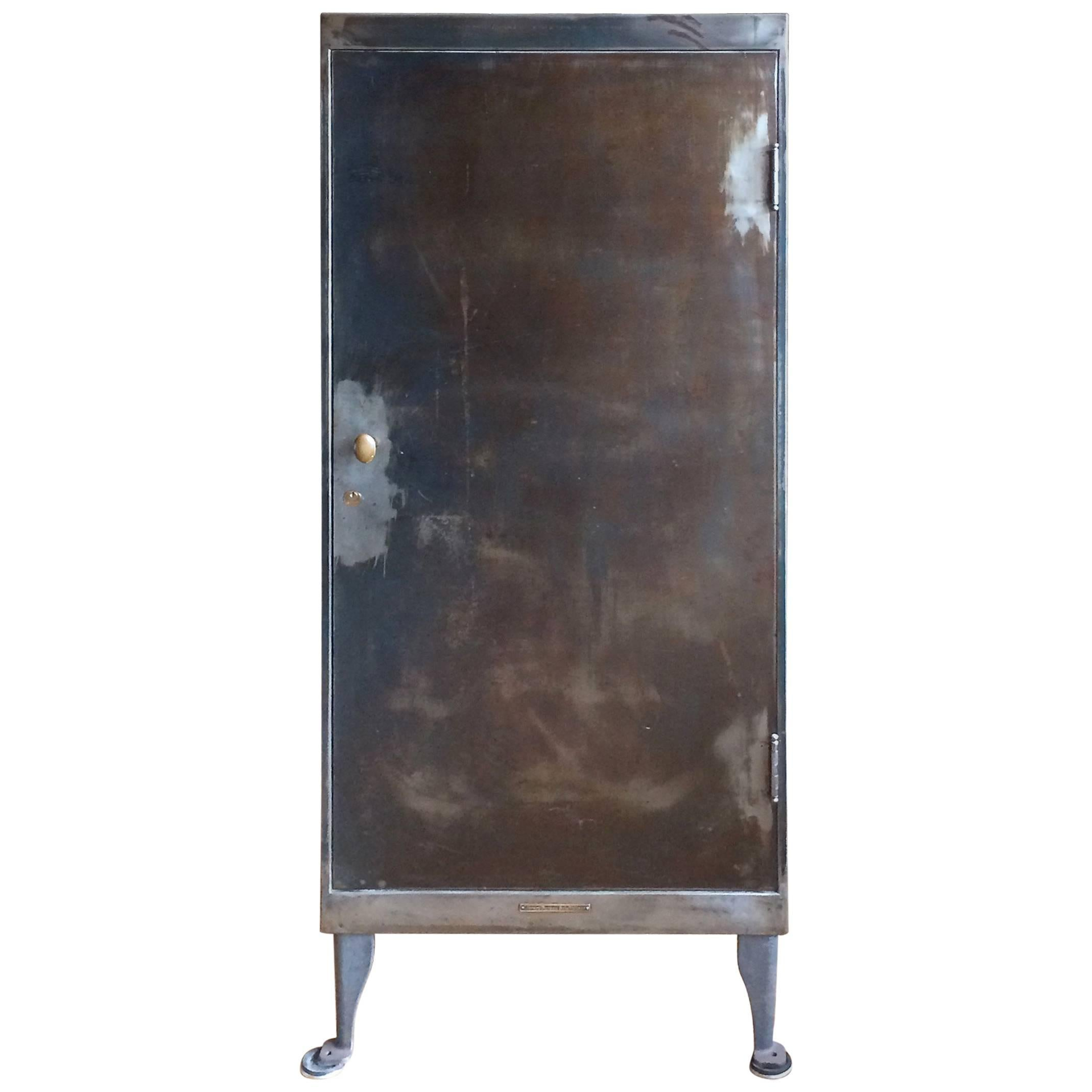 Library Bureau Sole Makers Industrial Brushed Steel Office Storage Cabinet