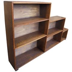 Antique Stepped Oak Bookcase in Manner of Heals