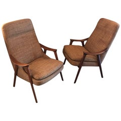 Pair of Scandinavian Modern Lounge Chairs by Ingmar Relling for Gustav Bahus