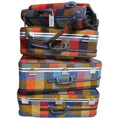 Four-Piece Mod Plaid, 1970s Luggage Set by Skyway