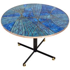 Italian Blue and Gold on Copper Enamel Center or Dining Table Architectural Legs