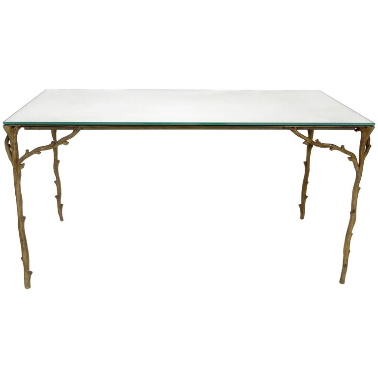 French Bronze Legged Organic Coffee Table by Maison Bagues For Sale